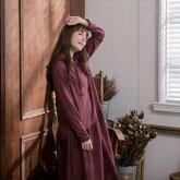 【秋赤】【048029】長袖刺繍レースロングパーカーワンピース