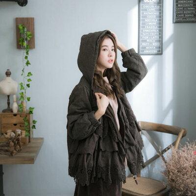 【フード付き】【051008】長袖刺繍レースリネンコットンジップアップジャケット