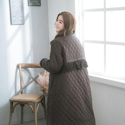 【051026】長袖刺繍レースコットンキルティングロングコート