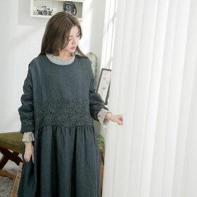 【054020】7分袖刺繍レースリネンロングワンピース