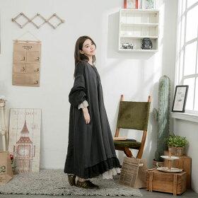 【054024】7分袖刺繍レースリネンロングワンピース