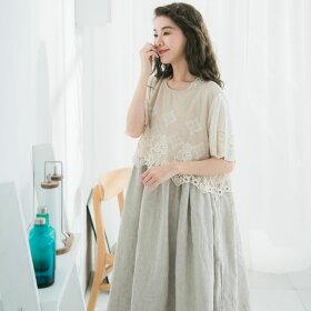 【058010】半袖刺繍レースリネンAラインロングワンピース