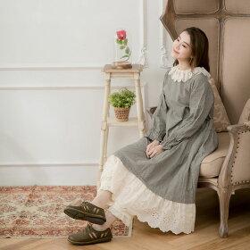 【059002】長袖刺繍レースコットンロングAラインチェック柄ワンピース