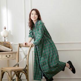 【059006】長袖刺繍レースコットンロングチェック柄ワンピース