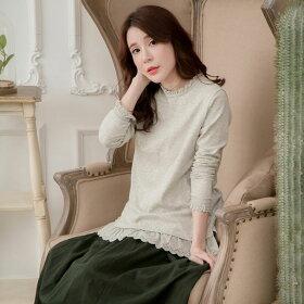 【059009】長袖刺繍レースコットンカットソー