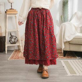 【060003】刺繍レース小花柄起毛コットンロングスカート
