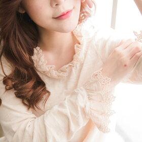 【060012】長袖刺繍レースコットンカットソー