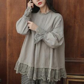 【063019】長袖刺繍レースコットンブラウス【ベージュ】