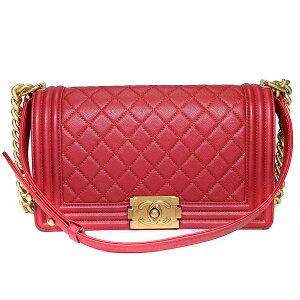 [商店中的所有商品加倍, 最多15次]香奈儿CHANEL肩包男孩Chanel 25链肩软鱼子酱皮红色红色复古金属配件女士经典人气良好[保存袋] [二手]