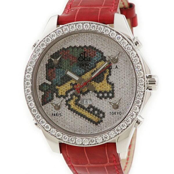 ジェイコブJACOBファイブタイムゾーンスカルJC-SKULL5D純正ダイヤメンズ腕時計クオーツシルバー 中古  店頭受取対応商