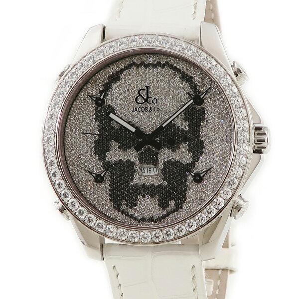 ジェイコブJACOB5タイムゾーンルシアンペラフィネLPF05 純正ダイヤメンズ腕時計クオーツシルバー 中古  店頭受取対応商品