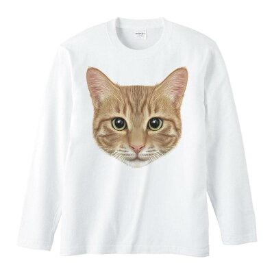 ミックス猫の顔(茶トラ/雑種)/長袖Tシャツ/白