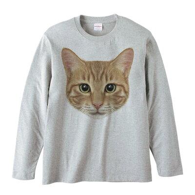 ミックス猫の顔(茶トラ/雑種)/長袖Tシャツ/杢グレー