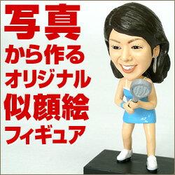ブルーのワンピースのテニスウェアがおしゃれなオリジナル似顔絵フィギュア!彼女や先輩へのサ...