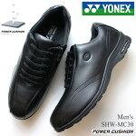 ヨネックスウォーキングシューズメンズYONEXパワークッションMC30SHW-MC30ブラック紳士靴歩きやすいカジュアルシューズファスナー