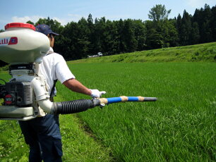 肥料散布しています。