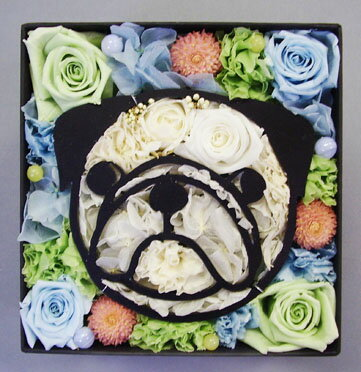 【送料無料】愛犬パグ プリザーブドフラワー バラ ばら薔薇 父の日 クリスマス【誕生日祝い・結婚祝い、引越し祝い】ペットメモリアル 母の日 動物のお花屋さん
