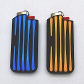 【BIC J25ミニライターを入れ替え交換可能 】ライン型 カラー ライターケース 【bicミニJ25ライターが1個付】