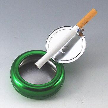HIHI 携帯灰皿 丸缶 無地グリーン 直径約6.8cm