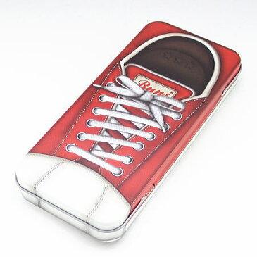 【缶ペンケース】レッドスニーカー デザイン柄 ブリキ缶 カンペンケース 4面が靴のデザイン
