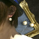 12mm コットンパールシンプルピアス 両耳 / ホワイト キスカ アクリル樹脂( コットンパール ピアス レディース ジュエリー アクセサリー )