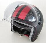 スモールジェットヘルメット開閉シールド付(バブルシールドタイプ)ブラック/グレーライン