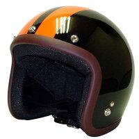 スモールジェットヘルメットBK/OR2本ライン