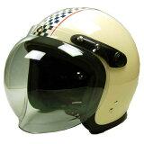 スモールジェットヘルメットSJ-68Bアイボリー/チェッカー