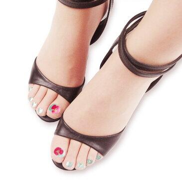 プリントネイル ストッキング (ハイビスカス)(5本指・パンストタイプ・UV対策・伝線しにくい・抗菌防臭)(日本製 Made in Japan) シアータイツ タトゥータイツ レディース fake nail stocking tights five toe ladies