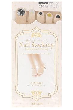 【ショート丈】プリントネイル ストッキング (オアシス)(ヒザ下丈・ソックスタイプ)(5本指・UV対策・伝線しにくい・抗菌防臭)(日本製 Made in Japan) ハイソックス レディース fake nail stocking tights socks five toe ladies