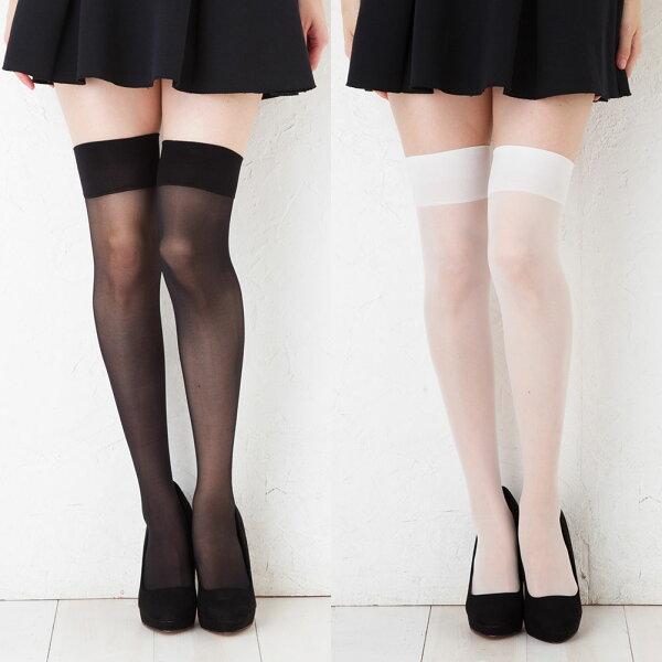 シアーニーハイソックス(透けニーハイ)(ブラック黒・ホワイト)(23-25cm)オーバーニーガーターニーソニーソックス靴下レディ