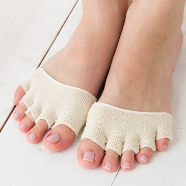オープントゥ 5本指つま先カバー シルク素材 フリーサイズ オフホワイト レディース フットカバー 絹