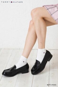 TOMMY HILFIGER スクールソックス アンクル丈 日本製 (紺・白・黒)(23-25cm) トミーヒルフィガー ワンポイント 靴下 レディース