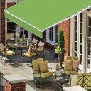 オーニングテント 幅3m×張出2m 黄緑/ライムグリーン 白フレーム 折り畳み 伸縮 巻き上げ式 日除けテント サンシェード ベランダ バルコニー カフェ オープンテラス 紫外線 UVカット 遮熱 断熱 エコ ハンドル式 簡単収納 □_71026