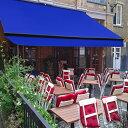 オーニングテント 幅4m×張出2.5m 青 ブルー 黒フレーム 折り畳み 伸縮 巻き上げ式 雨よけ 日よけテント サンシェード 紫外線 UVカット 遮熱 断熱 エコ ハンドル式 簡単収納 対応 _71118