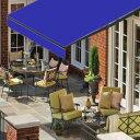 オーニングテント 幅3m×張出2m 青 ブルー 黒フレーム 折り畳み 伸縮 巻き上げ式 雨よけ 日よけテント サンシェード 紫外線 UVカット 遮熱 断熱 エコ ハンドル式 簡単収納 対応 _71119
