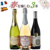 春ワイン3本セット送料無料ミックス飲み比べ赤泡ロゼ
