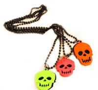DCMR Jewelry ジュエリー パンク ロック 流行 蛍光 カラー ドクロ の ブルック ネックレス オレンジレッド 1点