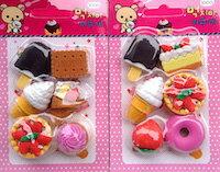 DCMR カラフル 3D トイ アイス ソフトクリーム ケーキ クッキー お楽しみ デザート セット リアル 消しゴム カラフル イレイサー