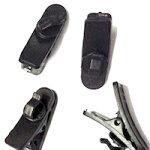【4個セットブラック】イヤホンクリップ固定太ケーブル対応回転タイプマルチ携帯ケーブルシュア掛けSUARE