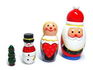 ウッドでできたサンタのマトリョーシカ♪ マトリョーシカ 人形 クリスマス サンタマトリョーシ...
