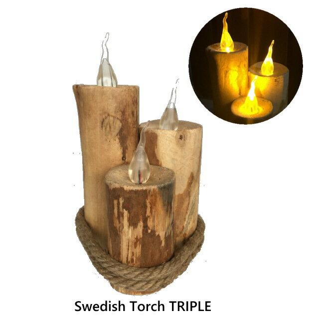 led キャンドルライト スウェディッシュトーチ トリプル Swedish Torch TRIPLE ゆらぎ 木製 間接照明 電池式