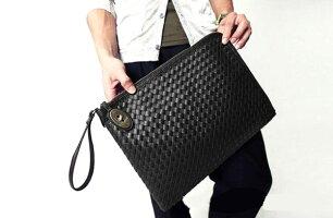 リアルPUレザー編み込み風クラッチバッグビジネス人気メンズバッグ通販男女兼用men'sレディースバッグバック