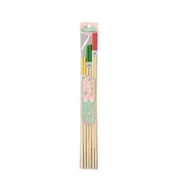 スベリ止メ角カラー菜箸3P イシダ