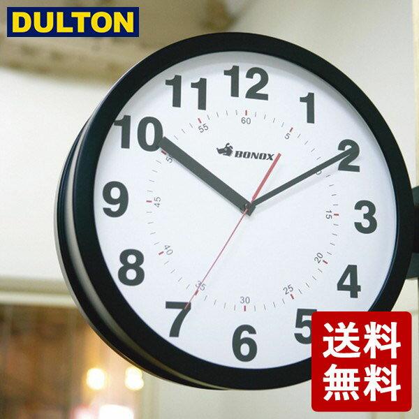 【予約:次回9月以降順次入荷】DULTON ダブルフェイス ウォールクロック ブラック S82429BK 両面時計 インダストリアル 男前 シンプル ダルトン DIY