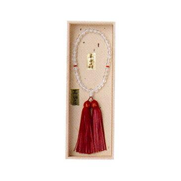 数珠 念珠 女性用切子水晶(2天メノウ)正絹頭付房(2色)桐箱入(楽天スーパーセール)