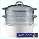 ■送料無料■Luminarc(リュミナルク) 耐熱ガラス製2段蒸し器 簡単レシピ付♪多彩に使えるフ...