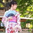 浴衣 セット レディース レトロ高級変わり織り綿浴衣3点セット「白地に赤の変わり縞と八重桜」【あす楽】