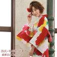 浴衣 レトロ セット 高級綿麻浴衣3点セット「白地に赤雲どりに菊と花」【あす楽】 浴衣 白
