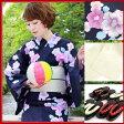 浴衣 セット レトロ 高級変わり織り綿浴衣3点セット「紺地にピンクのレトロ椿」 浴衣 紺 椿 桜